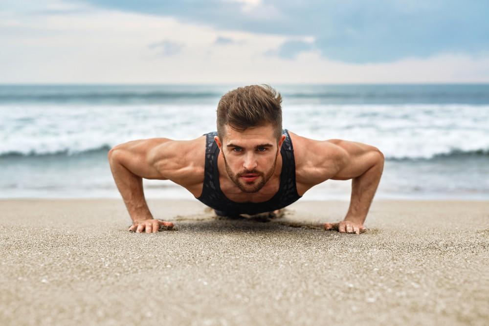 Guy push surf ups